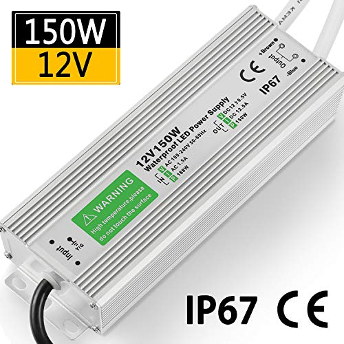 LED Driver 150W 12.5A Waterproof IP67 Power Supply 12V DC Transformer thinner and Durable Low Voltage Power Supply for LED Strip Lights LED Module and Power Accessories 5 Year Warranty ()
