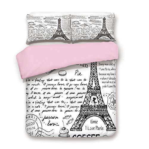 Pink Duvet Cover Set/FULL Size/Traditional Famous Parisian Elements Bonjour Croissan Coffee Eiffel Tower Illustration/Decorative 3 Piece Bedding Set with 2 Pillow Sham/Best Gift For Girls Women/Black