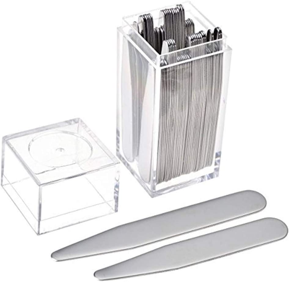 4 Different Sizes Set InnoWis 36 pcs Stainless Steel Collar Stays in Clear Plastic Box for Mens Shirts