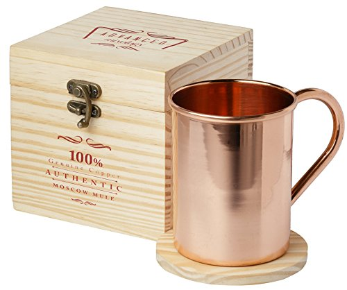 [GIFT SET] Advanced Mixology Moscow Mule Pure Copper Mug with Artisan Hand Crafted Wooden Box and Coaster Gift Set