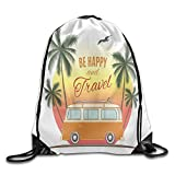 steelers toaster - Weiding Retro Surf Van With Palms Camping Relax Hippie Travel Be Happy Free Sixties Theme Drawstring Gym Sack Sport Bag For Men And Women