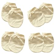 100% Organic Cotton Mittens. Booties ( Global Organic Certified from seed to sewn ) (Mittens (Set of 4) Basic Cream Beige)