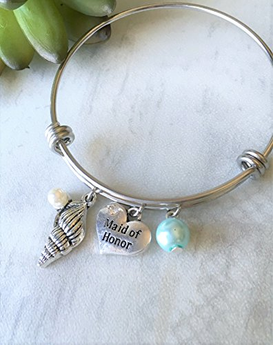 Aqua Blue Pearl Maid of Honor Seashell Bangle Bracelet Wedding Gift