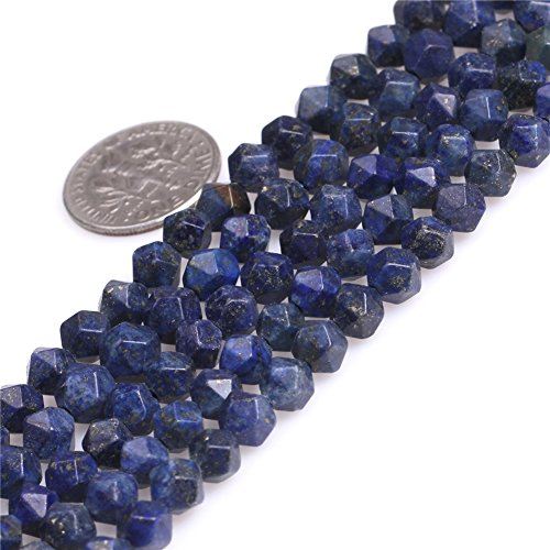 SHG Store Faceted Natural Stone Beads for Jewelry Making (6mm, Lapis Lazuli)