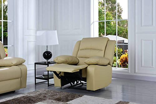 Traditional Classic Reclining Sofa Set - Real Grain Leather - Double Recliner, Loveseat, Single Chair (Beige)