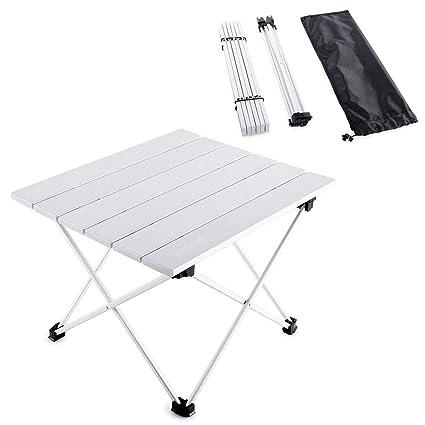 JELINDA Mesa de Acampar Plegable de Aluminio Mesa Enrollable de ...