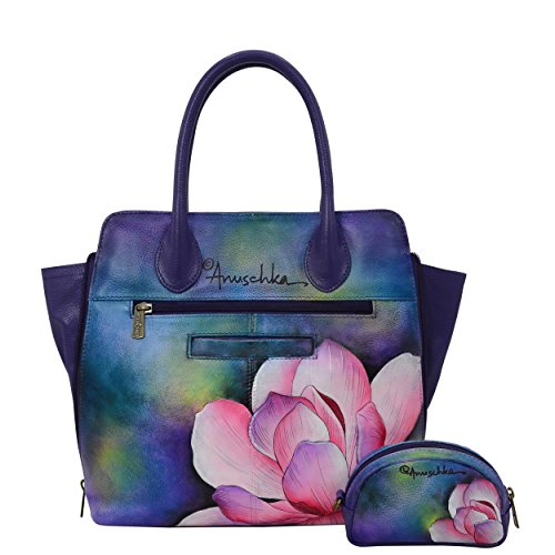Anuschka Hand Painted Designer Leather Handbag-Christmas gifts for women-Expandable Leather Satchel (Magnolia Melody 551 MGM) by Anna by Anuschka (Image #1)