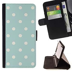 BullDog Case - FOR/Samsung Galaxy A3 / - / polka dot vintage rustic blue baby pattern /- Monedero de cuero de la PU Llevar cubierta de la caja con el ID Credit Card Slots Flip funda de cuer