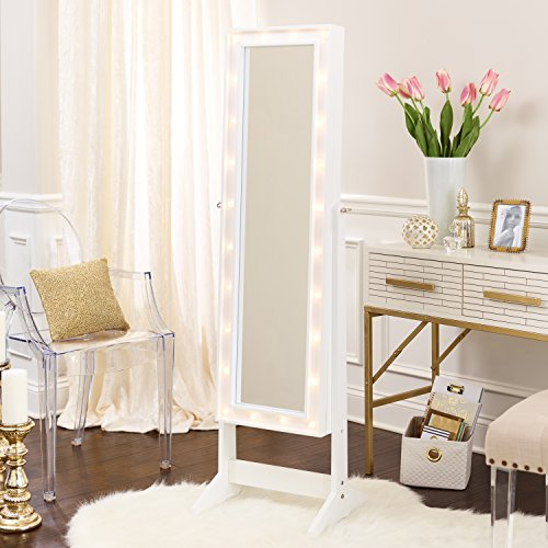 FirsTime & Co. White Cheval Free Standing Jewelry Armoire ()