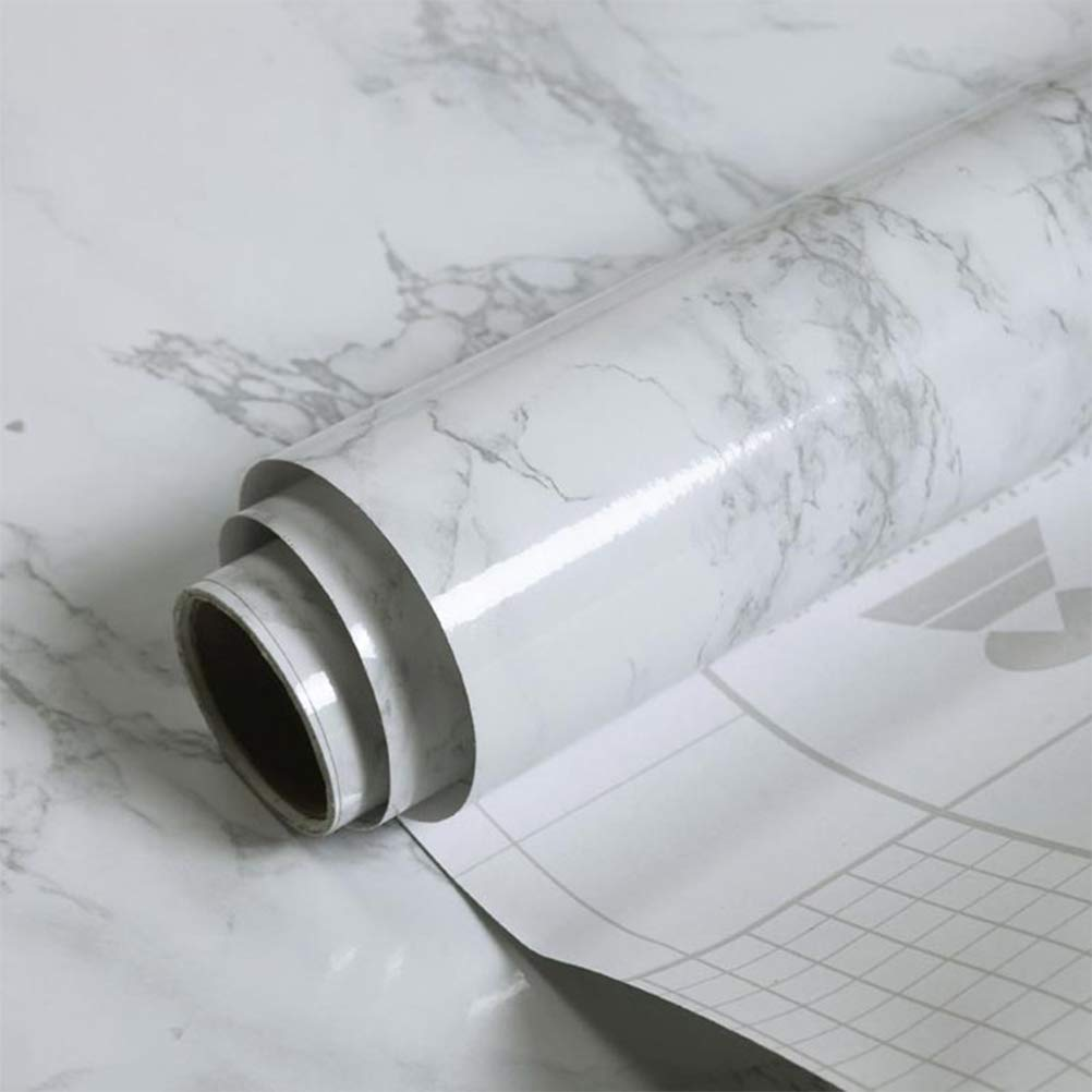 YANSON Papier Adhesif pour Meuble 40cmx200cm, Papier adhésif Motif Marbre Gris Plastique à Dos Collant, Vinyle Auto-adhésif, Papier Peint Autocollant, Papier Adhésif pour Meuble Blanc Marbre