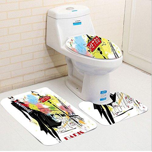 Keshia Dwete three-piece toilet seat pad customFashion Aesthetic Fashion Woman in Clothing Walking in Paris Streets Urban Theme - Paris Aesthetic
