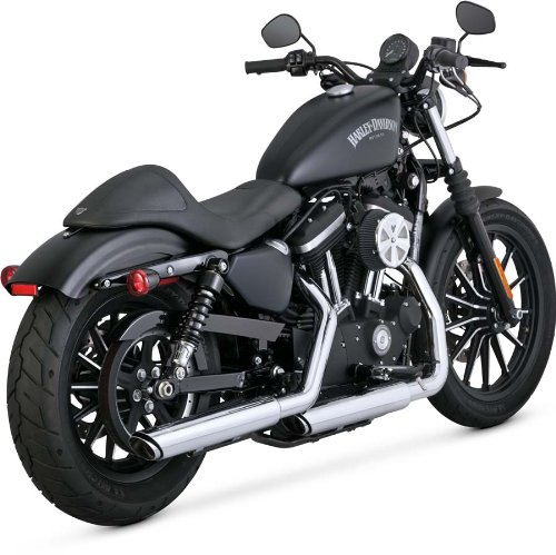 Vance & Hines Twin Slash Round Slip Ons Chrome 16861