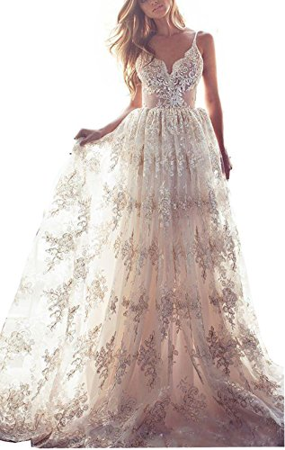 Luccatown Women's Sexy A-Line Spaghetti Lace Backless Wedding Dresses Bridal Gown Champagne US16 by Luccatown