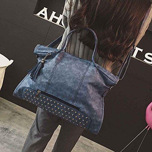 Femme Messenger Vintage Arichtop Bleu Tassel PU Lady Fille Sac Mode main sac Agrandir femme main Sac à Rivet cuir bandoulière 4BvwB