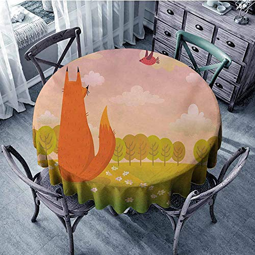 Sumilace Cartoon Premium Tablecloth Animal Fox Wildlife in