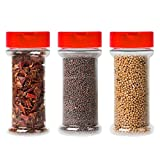 12-Pack Clear Plastic Spice Jars Storage Container Bottle-7 Oz -Flap Cap to Pour or Shaker/Sifter- Pressure Sensitive Liner to store Spice,Herbs-BPA free (12, red caps)