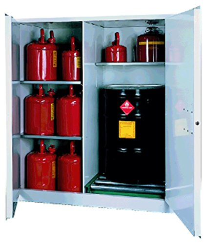SECURALL V1500 Flammable Drum Storage Cabinet, 115 Gallon Cap, 18 Gauge Steel, 65 x 56 x 31 in, 2-Door, 2-Adj. Shelves, FM Approved, OSHA/NFPA Comp. 15 YR Warranty - Yellow