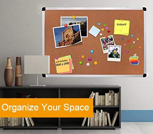 escuela Tabl/ón de anuncios de corcho con marco de aluminio satinado para el hogar oficina clase 60 x 90 cm 10 chinchetas gratis incluidas