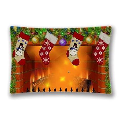 Navidad chimenea salvapantallas vacaciones fundas de cojín, moderna funda de almohada fundas de almohada de