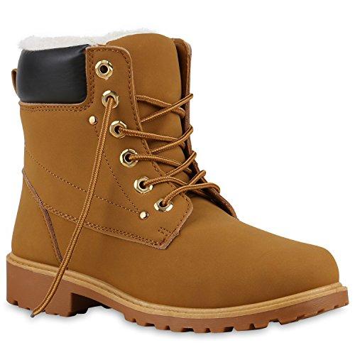 Stiefelparadies Damen Herren Unisex Warm Gefütterte Stiefeletten Outdoor Worker Boots Profilsohle Winterschuhe Camouflage Schuhe Übergrößen Flandell Hellbraun Gold Schwarz