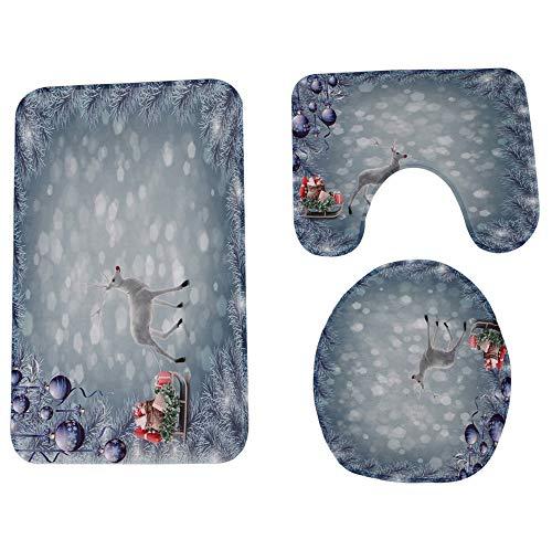 JPJ(TM) New❤Bathroom Mat❤3Pcs Christmas Hot Fashion Bathroom Non-Slip Pedestal Rug + Lid Toilet Cover + Bath Mat Set (I) by JPJ(TM) _Christmas products
