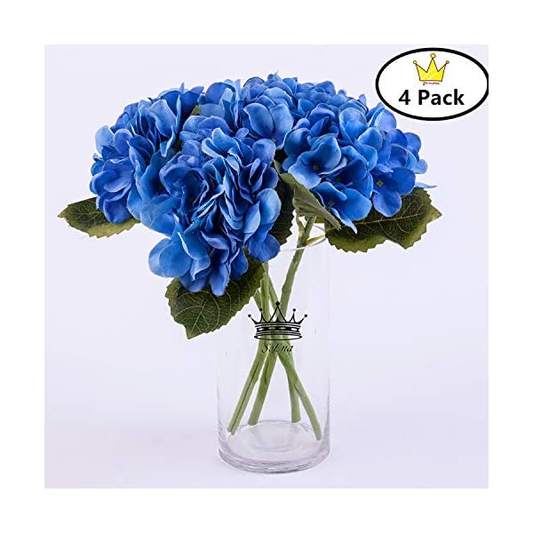 S.Ena, 6 Branch 30 Heads Artificial Silk Fake Flowers Leaf Hydrangea Wedding Floral Home Decor Bouquet Birthday Party DIY, Pack of 4 (Blue)