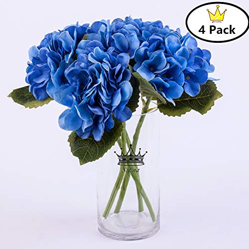 (S.Ena, 6 Branch 30 Heads Artificial Silk Fake Flowers Leaf Hydrangea Wedding Floral Home Decor Bouquet Birthday Party DIY, Pack of 4 (Blue))