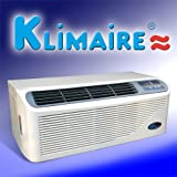 Klimaire 12,000 Btu Ptac Packaged Terminal Air Conditioner - R410a Refrigerant - With 3kw Electric Heater and Electronic Push Button Control, Complete with Wall Sleeve, Back Grill, Power Cord w/ Breaker, and Wireless Remote Control