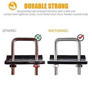 "MICTUNING U-Bolt Hitch Tightener Heavy-Duty Stainless Steel Anti-Wobble Stabilizer Compatible with All 1.25"" and 2"" Hitches"