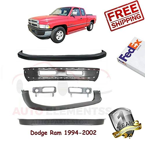 1500 Valance Replacement - Front Bumper Kit for 1994-2002 Dodge Ram 1500 Sight Shield Left Hand Side & Right Hand Side Upper & Lower Valance Primed Black Set of 6 CH1000232 CH1000160 CH1090124 CH1002173 CH1038101 CH1039101
