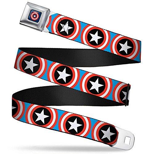 Captain America Belt (Captain America Shield Repeat Blue Seatbelt Belt)