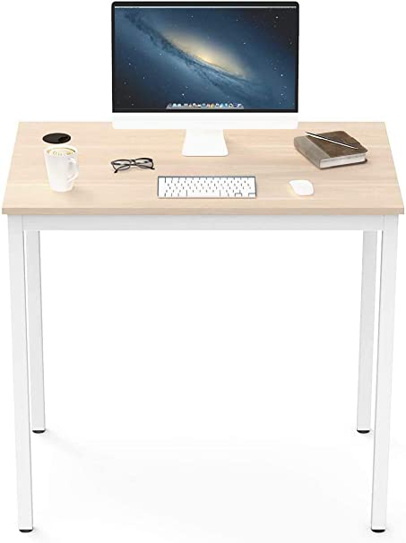 Amazon Com Eureka Ergonomic Small Desk 31 5 White Computer Desk For Small Home Office Workstation With Metal Frame Adjustable Feet Walnut White Kitchen Dining