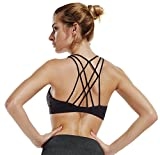 THE GYM PEOPLE Mesh Straps Sports Bra Padded Comfort Support Yoga Bras Top for Women Workout Fitness (Large, 07/Black)