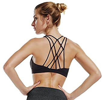 Mesh Straps Sports Bra Padded Comfort Support Yoga Bras Top Women Workout Fitness (Small, 07/Black)