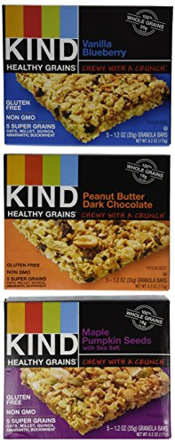 Granola Bars, Three Flavor Variety Pack, Gluten Free, 1.2oz Bars, 15 Count (Healthy Grain Snack)