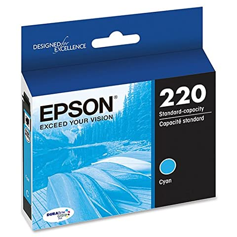 Genuine OEM Cyan Ultra Ink Cartridge Epson 220 WorkForce DuraBrite WF-2630WF WF-2650 WF-2660 - T220220 - Yield 165 (Epson Printer Workforce 2650)
