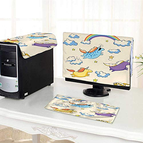 Auraisehome Desktop Computer Cover 3 Pieces Colored Illustration of Several Flying Pony Baby Unicorns in The Air Multi Scratch Resistance /19