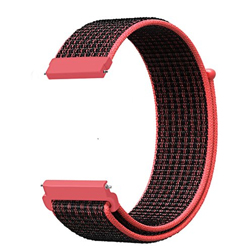 Fintie Band Compatible with Galaxy Watch 46mm / Gear S3 Frontier Classic Smartwatch, 22mm Lightweight Breathable Nylon Replacement Sport Loop Wrist Strap for Men Women - Bright Crimson/Black [Small]