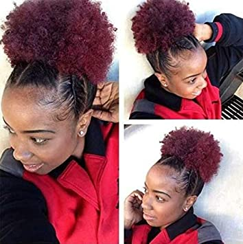 Synthetic Afro Puff Drawstring Ponytail African American Hair Short Kinky Curly Wig Kanekalon Fiber Wine Red