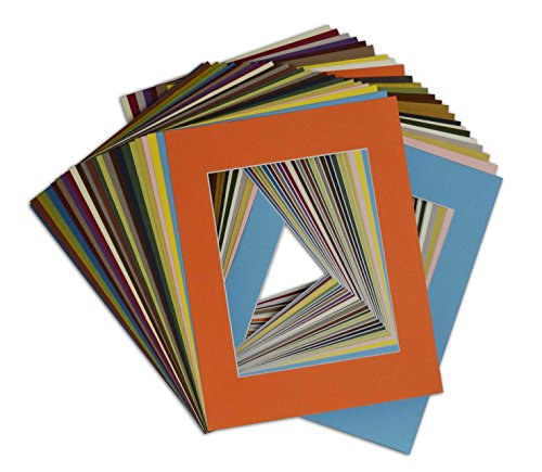 Golden State Art Pack of 50, Acid-Free Mixed Colors Pre-Cut 11x14 Picture Mat for 8x10 Photo with White Core Bevel Cut Frame Mattes