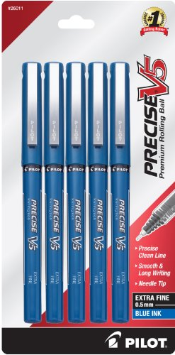 Pilot Precise V5 Stick Rolling Ball Pens, Extra Fine Point, 5-Pack, Blue Ink (Stick Pen Blue Ink)