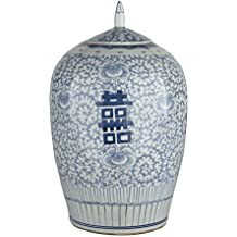 Oriental Ceramic Decorative Double Happiness Ginger Jar Blue & White Floral Decorative Storage Container