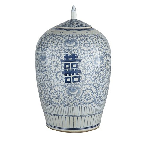 Oriental Ceramic Decorative Double Happiness Ginger Jar Blue & White Floral Decorative Storage Container ()