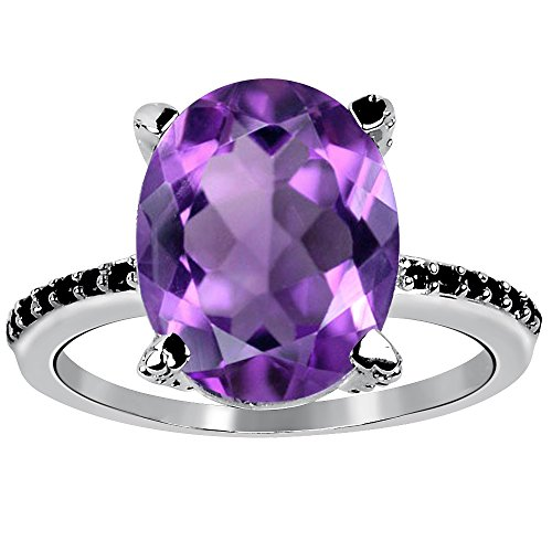 - 6.50 Ctw Amethyst & Black Spinel Stone Rings For Women By Orchid Jewelry: Anniversary & Promise Rings For Women & Her, Purple February Birthstone Wedding Jewelry, Fashion Rings Size 7