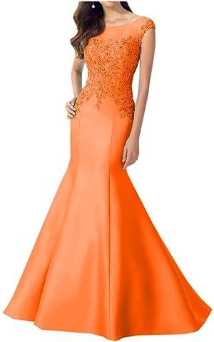Avril Dress Glamorous Applique Lace Evening Mermaid Satin Party Dress New-8-Orange