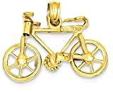 ICE CARATS 14k Yellow Gold 3 D Moveable Bicycle Pendant Charm Necklace Travel Transportation Fine Jewelry Gift Set For Women Heart