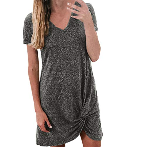 KASAAS Womens Ribbed T-Shirt Dresses Sexy V-Neck Short Sleeve Side Knot Baggy Flowy Solid Casual Tunic Mini Dress(XL,Gray)