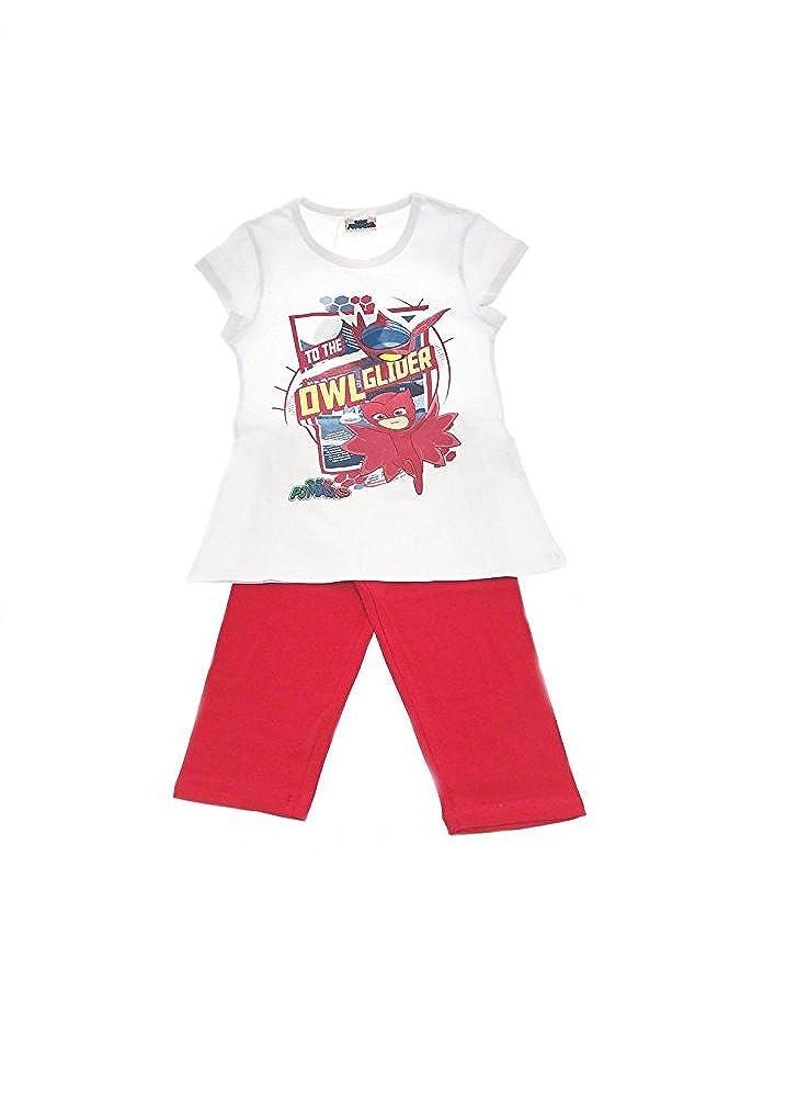 Masks Completo Originale PJ Super pigiamini 4 colori maglia + leggings bambina bimba (4 anni, maglia bianca leggings rossi)