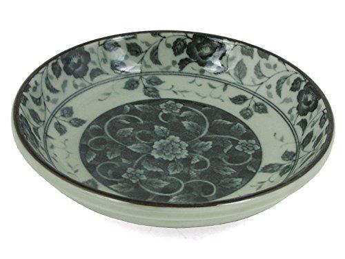 4 Pieces of Japanese 4'' Diameter Soy Sauce Dipping Dishes Bowls Mashiko Botan Flower Design by Yokohama Gifts