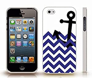 iStar Cases? iPhone 5/5S Case with Chevron Pattern Navy Blue/ White Stripe Black Anchor , Snap-on Cover, Hard Carrying Case (White)